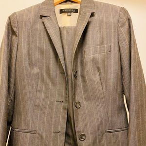 Anne Klein grey striped business suit